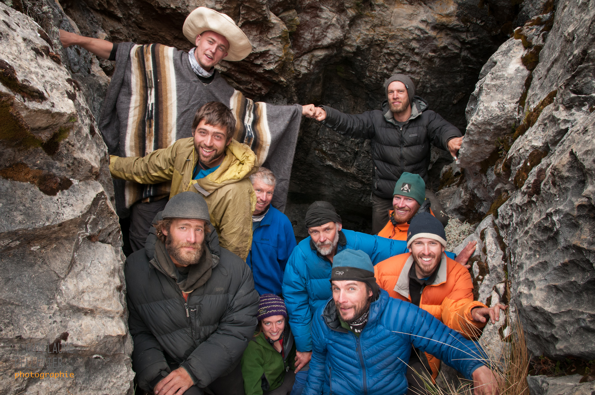 The team in El Chupadero's entrance. Andy and Adam at the back, front row left to right Nic, Rob, Andrew, Hannah, Alan, Guillaume, Jesse, David. Photo Guillaume Pelletier